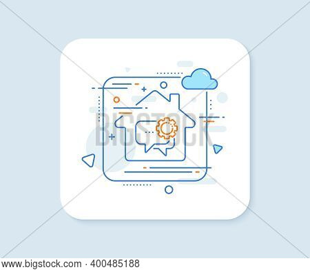 Employees Messenger Line Icon. Abstract Vector Button. Speech Bubble Sign. Chat Message Symbol. Empl