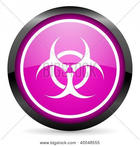 virus violet glossy icon on white background poster