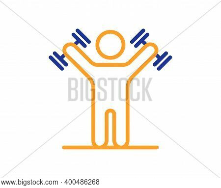 Man With Dumbbells Line Icon. Workout Equipment Sign. Gym Fit Symbol. Quality Design Element. Line S