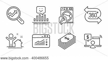 New House, Online Shopping And Dollar Line Icons Set. Web Traffic, 360 Degree And Washing Machine Si