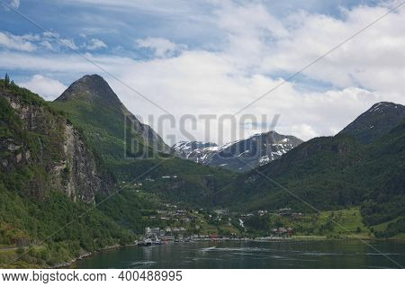 Geiranger Fjord, Beautiful Nature Norway. It Is A 15-kilometre (9.3 Mi) Long Branch Off Of The Sunny