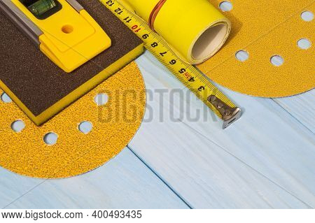 Set Of Abrasive Tools And Construction Tape For Cleaning Or Sanding Various Objects