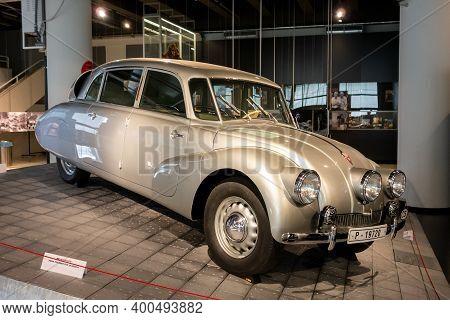 Zlin, Czech Republic - September 27, 2019: Aerodynamic Tatra 87 Car Of Miroslav Zikmund And Jiri Han