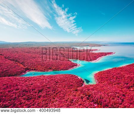 Tranquil color infra-red lagoon on sunny day. Location Kvarner Gulf, Punta Kriza, Cres island, Croatia, Europe. Drone photography. Abstract infrared image of exotic landscape. Wonders of the world.