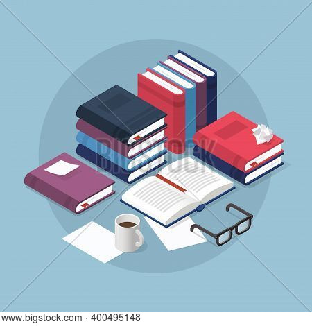 Vector Isometric Reading Books Illustration. Open Book With Sticky Note Surrounded With Stacks Of Di