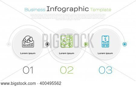 Set Line Stocks Market Growth Graphs, Trading Courses And Mobile Stock Trading. Business Infographic
