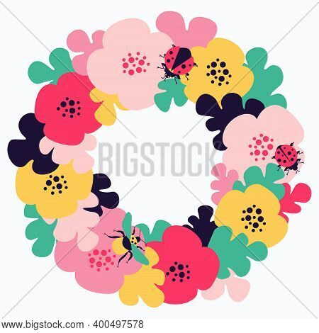 Frame With Floral Motives And Insects. Bumblebee And Ladybug Insects. Colorful Summer Meadow For Pos