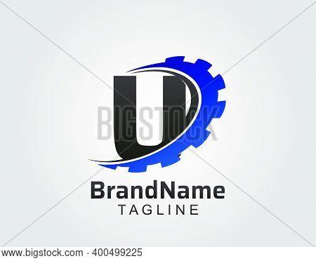 Abstract U Letter, U Gear Swoosh Logo.