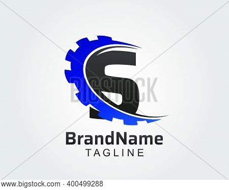 Abstract S Letter, S Gear Swoosh Logo.