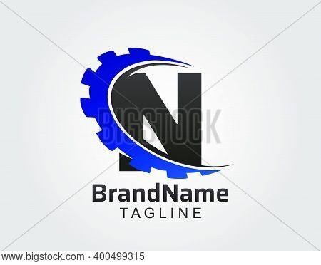 Abstract N Letter, N Gear Swoosh Logo.