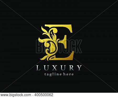 Letter E Luxury Logo Icon, Luxury Gold Flourishes Ornament Monogram Design Vector.