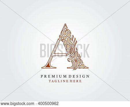 Luxury Initial A Letter Logo Icon, Elegant Floral Ornament Monogram Design Vector.