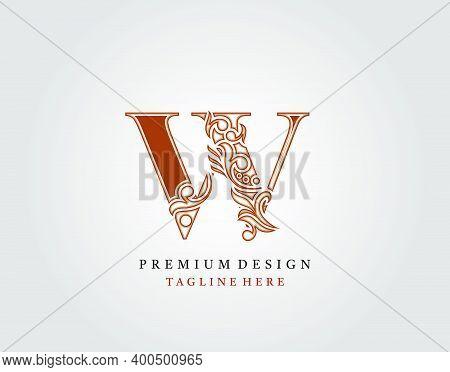 Luxury Initial W Letter Logo Icon, Elegant Floral Ornament Monogram Design Vector.