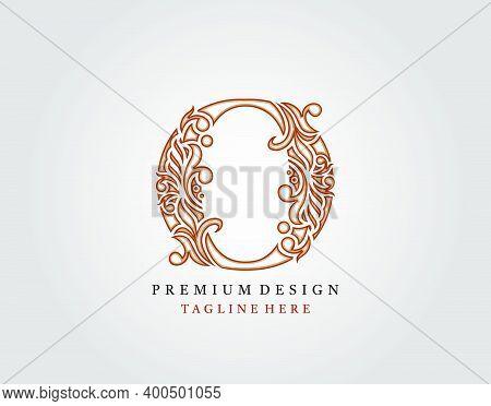 Luxury Initial O Letter Logo Icon, Elegant Floral Ornament Monogram Design Vector.