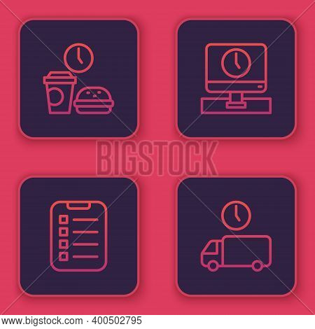 Set Line Fast Food Time, To Do List Or Planning, Monitor And Delivery. Blue Square Button. Vector