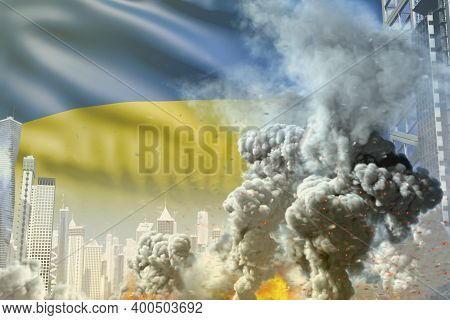 Big Smoke Pillar With Fire In The Modern City - Concept Of Industrial Blast Or Terroristic Act On Uk