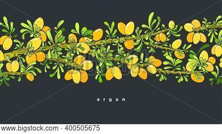 Argan Tree Pattern. Vector Oil Beans, Green Leaves. Art Graphic Illustration On Black Background. Na