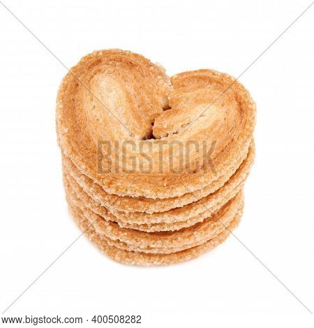 Puff Pastry Cookies. Fresh Puff Pastry Cookies In The Shape Of A Heart. Classic French Pastries. Pig