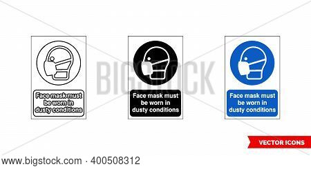 Mandatory Signs Face Mask Must Be Worn Industy Conditions Icon Of 3 Types Color, Black And White, Ou