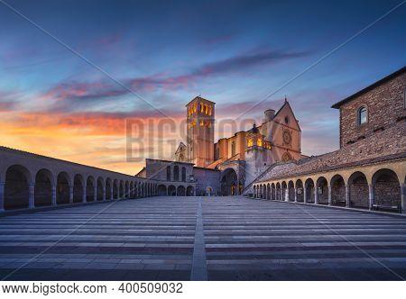 Assisi, San Francesco Or Saint Francis Basilica Church At Sunset. Perugia, Umbria, Italy, Europe.