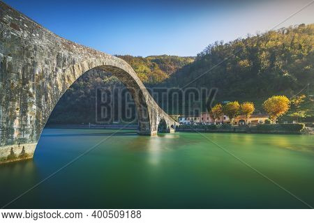 Bridge Of The Devil Or Ponte Della Maddalena Historic Landmark In Garfagnana. Serchio River. Borgo A