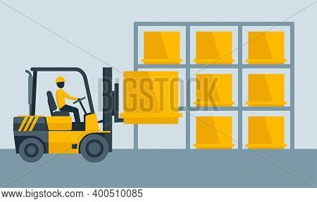 Forklift Warehouse Equipment Working - Freight Shelf Stack Packaging Loader Silhouette With Driver -