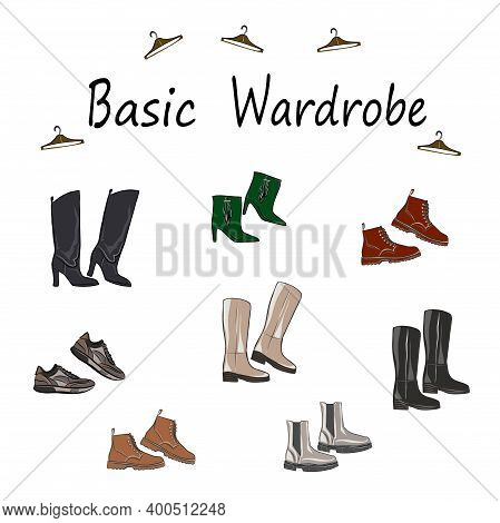 Set About A Basic Wardrobe. For Work, Leisure, Shopping, Travel, Holidays. Boots, Shoes, Sneakers, B