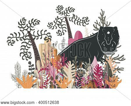 Cute Tyrannosaurus In The Jungle. Dinosaur In The Rainforest, Vector Illustration. Happy T-rex Chara