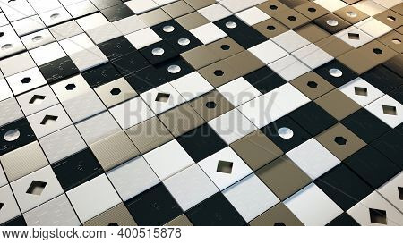 3d Domino Background. Animation. Flat Background Of Surface Consisting Of Dominoes. Checkerboard Sur