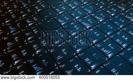 3d Computer Cells With Numbers. Animation. Business Structure In 3d Computer Graphics With Moving Ce