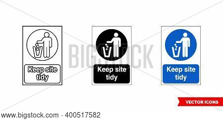 Construction Mandatory Sign Keep Site Tidy Icon Of 3 Types Color, Black And White, Outline. Isolated
