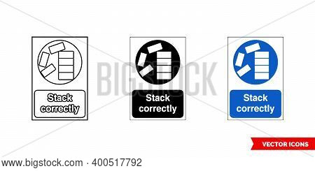 Construction Mandatory Sign Stack Correctly Icon Of 3 Types Color, Black And White, Outline. Isolate