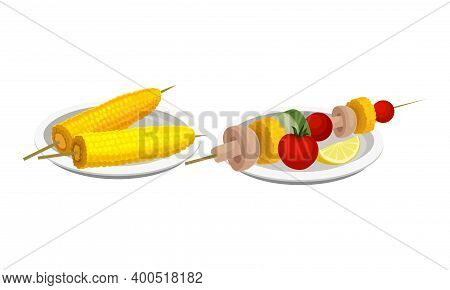 Skewered Corn Cob And Vegetables As Barbeque Food Served On Plate Vector Set