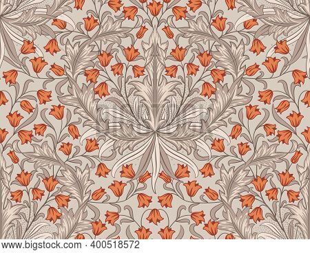 Floral Seamless Pattern With Big And Small Orange Flowers On Light Background. Tulips, Foliage In Mi