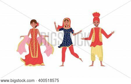 Man Wearing Turban And Woman In Long Dress As Traditional Indian Clothing Vector Illustration Set