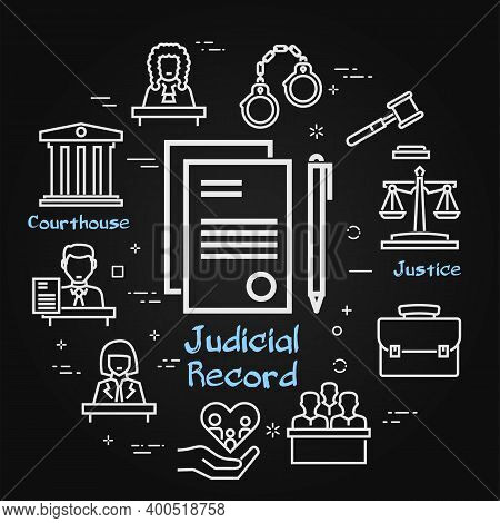 Vector Black Line Banner Of Legal Proceedings - Judicial Record Icon