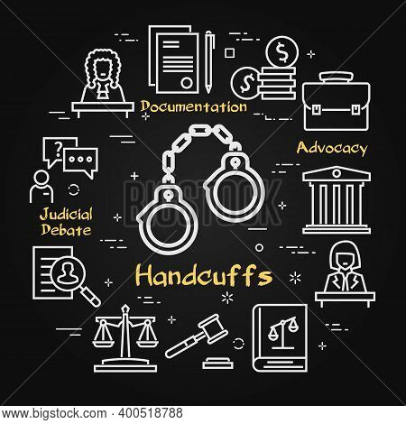Vector Black Line Banner Of Legal Proceedings - Handcuffs Icon