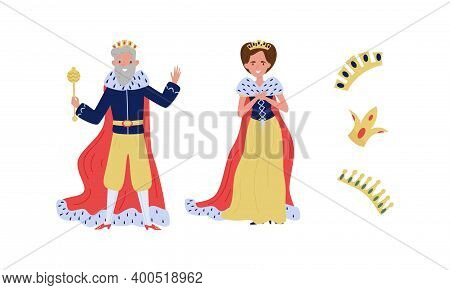 King And Queen Wearing Golden Crown As Fabulous Royal Family Vector Set