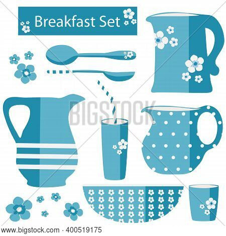 Vector Breakfast Utensil Set. Blue White Retro Country Style Jugs, Bowls, Spoons, Glasses With Flora