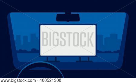 Drive Cinema, Car Movie Theater, Auto Theatre. View From Window Car In Open Air Parking At Night. Ou