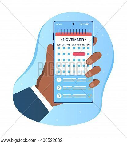 Hand Holding Smartphone With Planner App On Screen. Reminder, Appointment Concepts. Hand Holds Smart