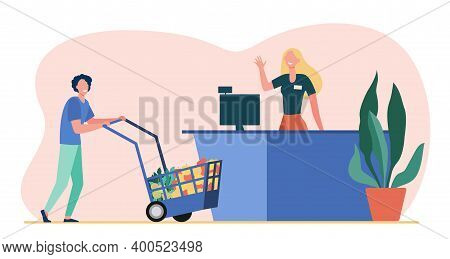 Male Customer Wheeling Shopping Cart To Cash Register. Cashier, Checkout, Person Buying Food Flat Ve