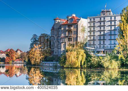 Berlin, Germany - November 7, 2020: Shore Of Lake Lietzen With Buildings Of Bootshaus Stella, Pensio