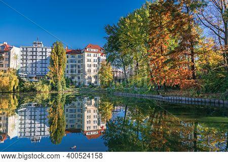 Berlin, Germany - November 7, 2020: Shore Of Lake Lietzen With Buildings Of Ringhotel Seehof Reflect