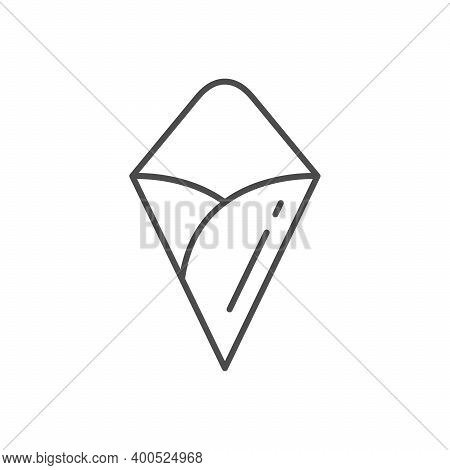 Food Paper Cornet Line Outline Icon Isolated On White. Vector Illustration