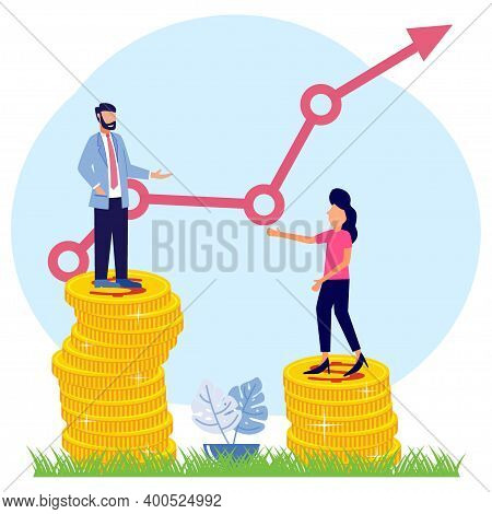 Vector Illustration Of A Business Concept, 2 Business Women And Men Standing On A Pile Of Coins Symb