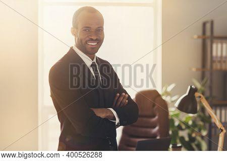 Photo Of Attractive Handsome Dark Skin Business Man Boss Guy Stand Self-confident Hands Crossed Insu