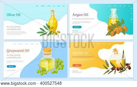 Set Of Pictures With Text Of Organic Liquids On Website. Glass Bottles With Olive And Argan, Jojoba