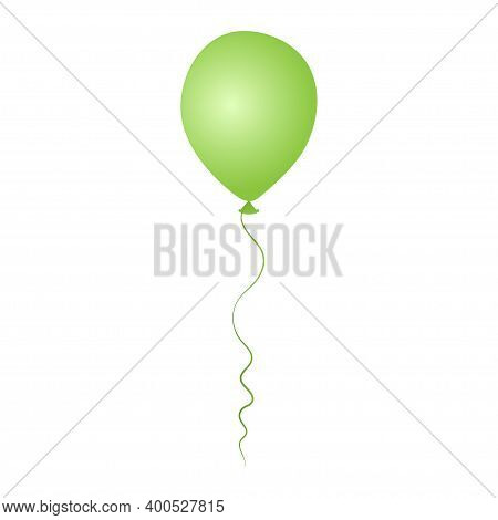 Green Helium Balloon. Birthday Baloon Flying For Party And Celebrations. Isolated On White Backgroun