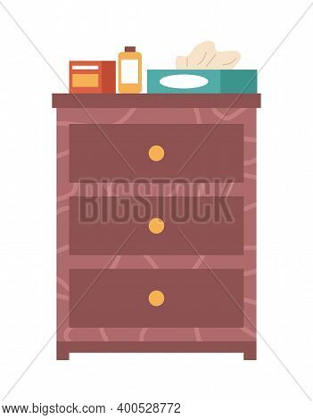 Wooden Commode With Three Boxes Isolated On White Background. Chest Of Drawers Vector Illustration.